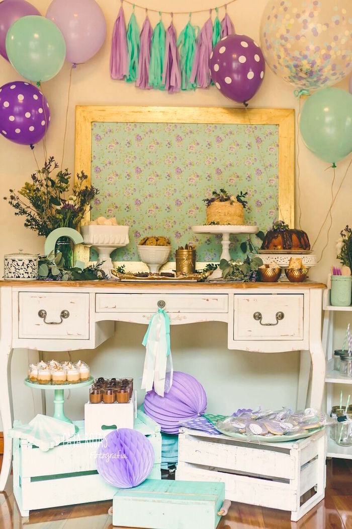 Dessert table from a Shabby Chic Lavender & Mint Birthday Party via Kara's Party Ideas | KarasPartyIdeas.com - The place for all things PARTY! (15)