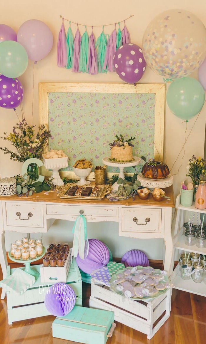 Dessert table from a Shabby Chic Lavender & Mint Birthday Party via Kara's Party Ideas | KarasPartyIdeas.com - The place for all things PARTY! (14)