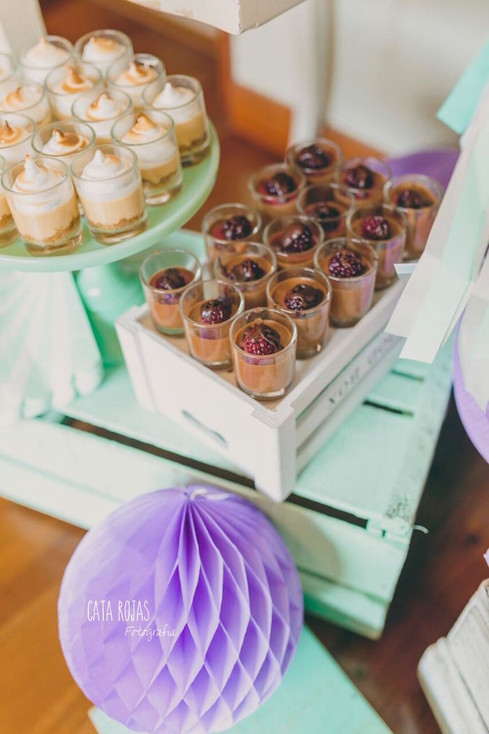 Dessert cups from a Shabby Chic Lavender & Mint Birthday Party via Kara's Party Ideas | KarasPartyIdeas.com - The place for all things PARTY! (13)