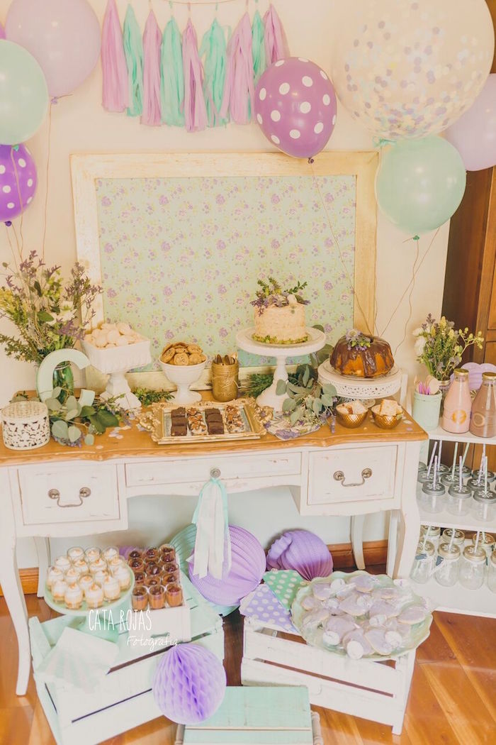 Shabby Chic Lavender & Mint Birthday Party via Kara's Party Ideas | KarasPartyIdeas.com - The place for all things PARTY! (11)