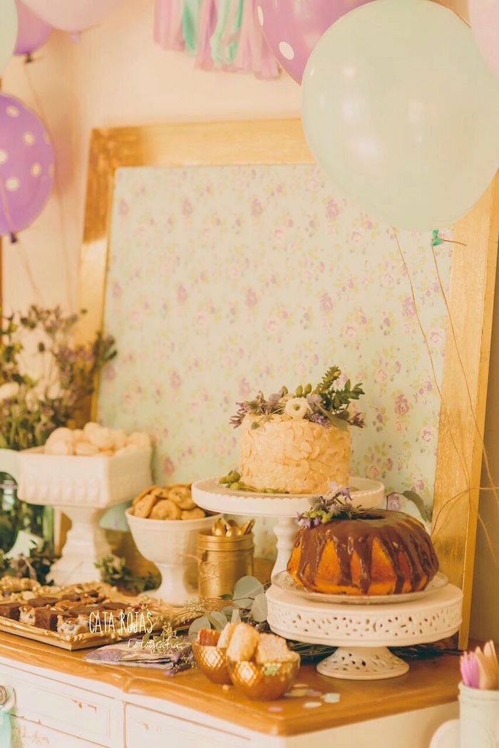 Sweet table from a Shabby Chic Lavender & Mint Birthday Party via Kara's Party Ideas | KarasPartyIdeas.com - The place for all things PARTY! (26)
