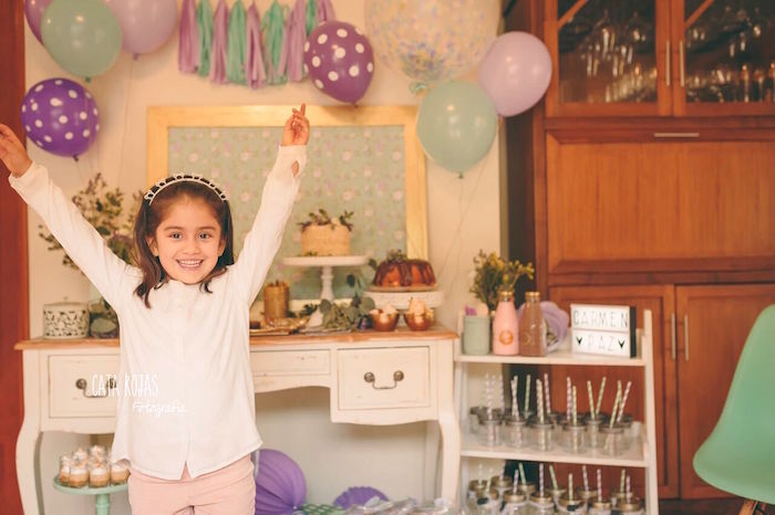 Birthday girl + dessert table from a Shabby Chic Lavender & Mint Birthday Party via Kara's Party Ideas | KarasPartyIdeas.com - The place for all things PARTY! (5)