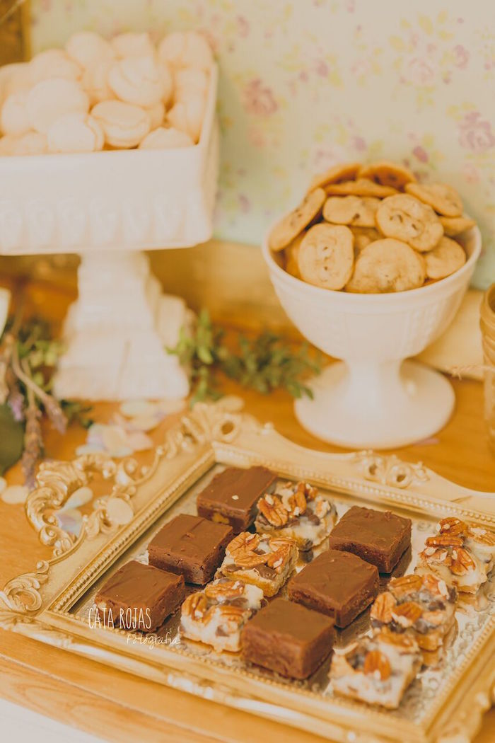Brownies & cookies from a Shabby Chic Lavender & Mint Birthday Party via Kara's Party Ideas | KarasPartyIdeas.com - The place for all things PARTY! (25)
