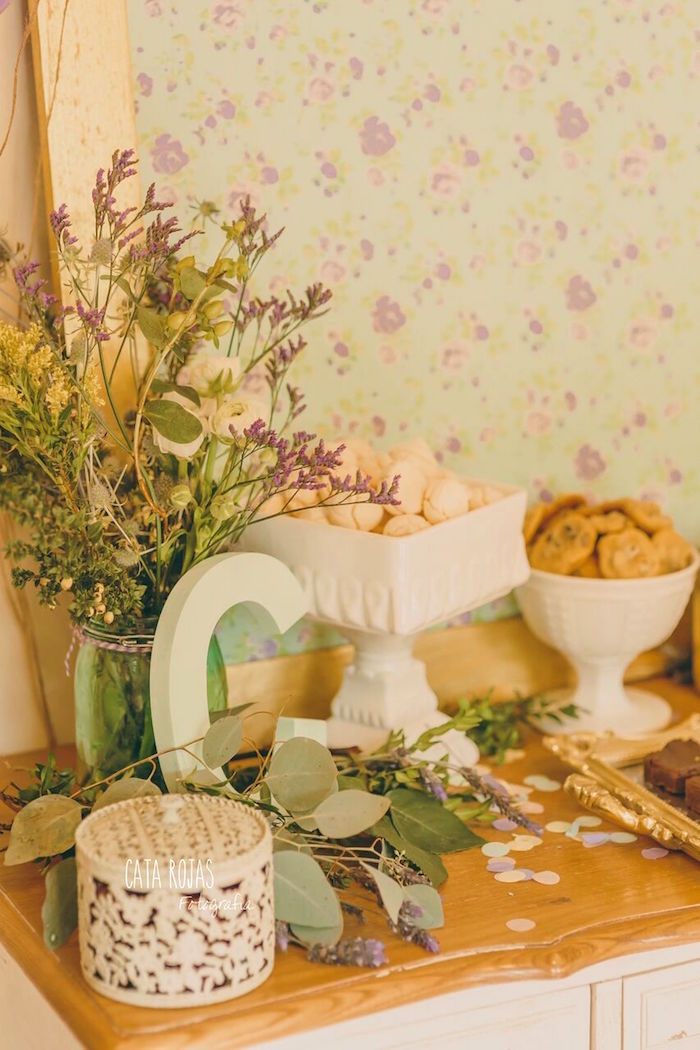 Dessert table sweets + decor from a Shabby Chic Lavender & Mint Birthday Party via Kara's Party Ideas | KarasPartyIdeas.com - The place for all things PARTY! (23)