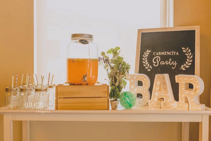 Drink bar from a Shabby Chic Lavender & Mint Birthday Party via Kara's Party Ideas | KarasPartyIdeas.com - The place for all things PARTY! (21)