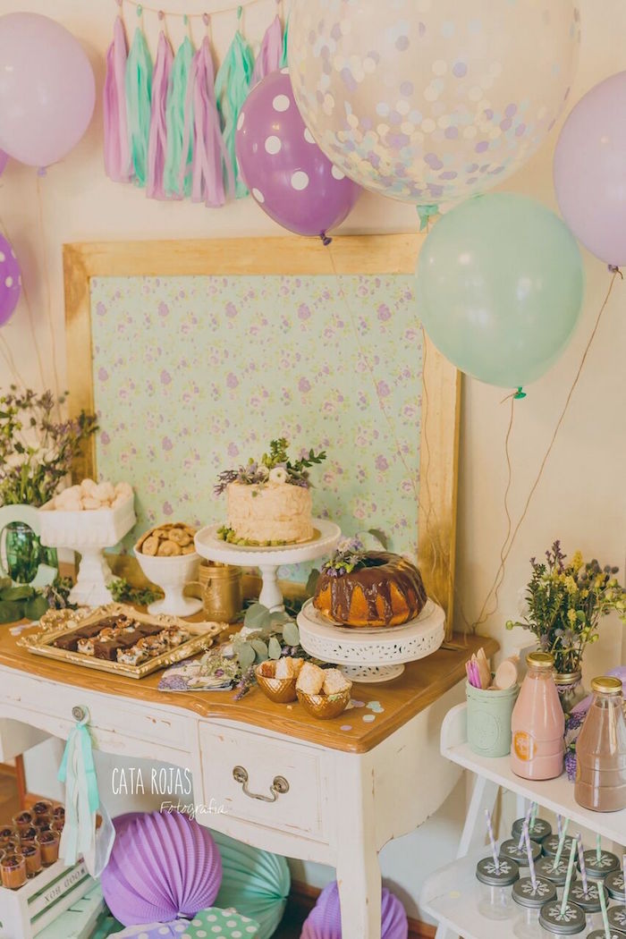 Dessert stand from a Shabby Chic Lavender & Mint Birthday Party via Kara's Party Ideas | KarasPartyIdeas.com - The place for all things PARTY! (19)