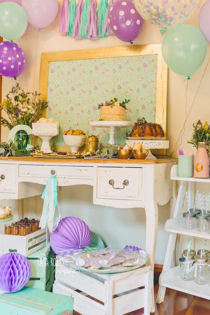 Sweet table from a Shabby Chic Lavender & Mint Birthday Party via Kara's Party Ideas | KarasPartyIdeas.com - The place for all things PARTY! (18)