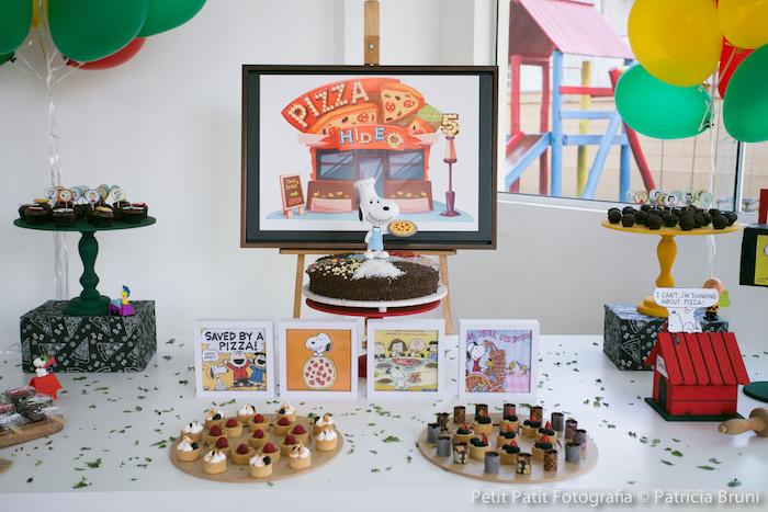Dessert Table Details from a Snoopy Pizza Themed Birthday Party via Kara's Party Ideas KarasPartyIdeas.com (18)