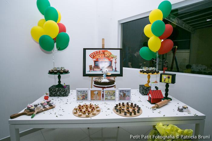 Dessert Table from a Snoopy Pizza Themed Birthday Party via Kara's Party Ideas KarasPartyIdeas.com (15)