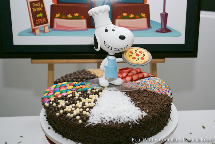 Cake from a Snoopy Pizza Themed Birthday Party via Kara's Party Ideas KarasPartyIdeas.com (14)