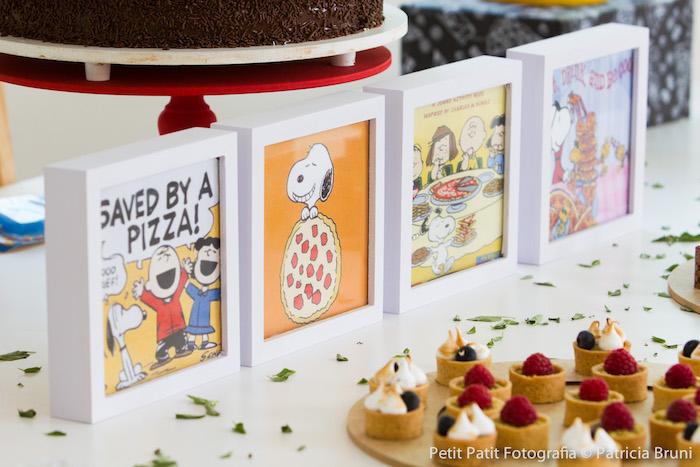 Dessert Table Signage from a Snoopy Pizza Themed Birthday Party via Kara's Party Ideas KarasPartyIdeas.com (4)