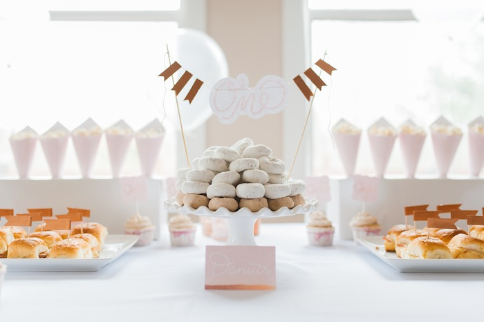 Donut tower from a Sugar & Spice 1st Birthday Party via Kara's Party Ideas | KarasPartyIdeas.com - THE PLACE FOR ALL THINGS PARTY! (13)