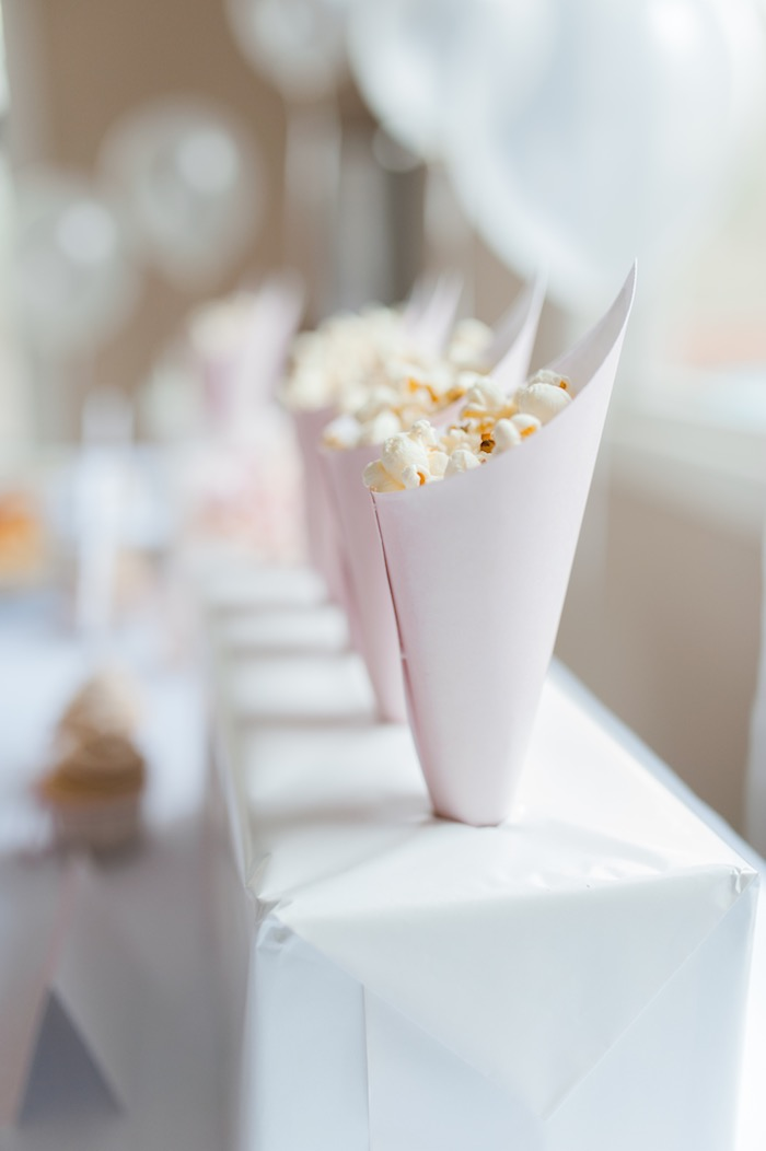 Popcorn favor cones from a Sugar & Spice 1st Birthday Party via Kara's Party Ideas | KarasPartyIdeas.com - THE PLACE FOR ALL THINGS PARTY! (4)