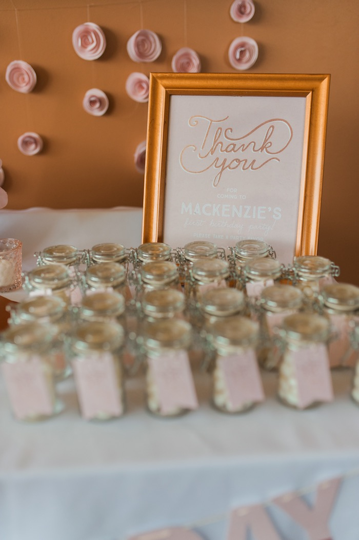 Thank you sign + favors from a Sugar & Spice 1st Birthday Party via Kara's Party Ideas | KarasPartyIdeas.com - THE PLACE FOR ALL THINGS PARTY! (23)