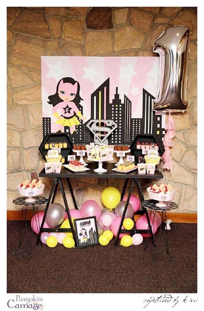 Sweet Table Setup From A Super Girl Superhero Themed Birthday Party Via Karas Ideas
