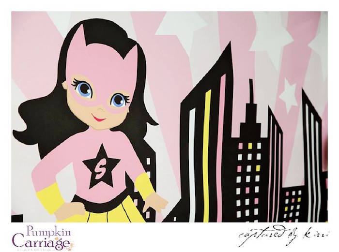 Backdrop From A Super Girl Superhero Themed Birthday Party Via Karas Ideas