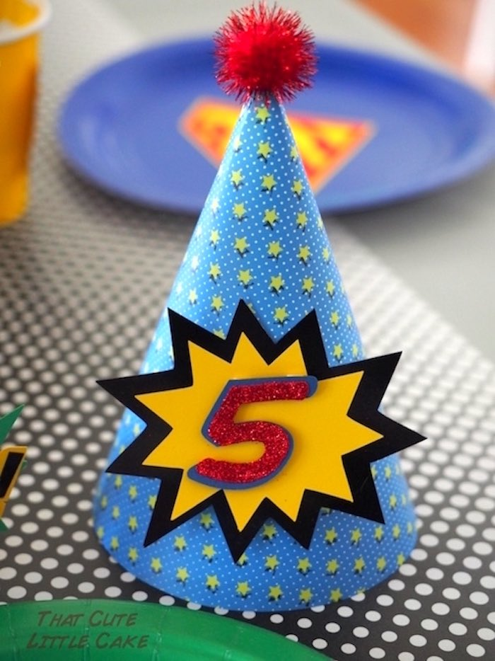 Party hat from a Superhero Birthday Party via Kara's Party Ideas | KarasPartyIdeas.com - The Place for All Things Party! (17)
