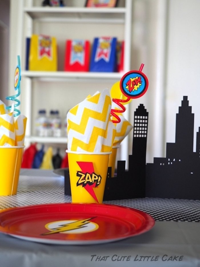 The Flash place setting from a Superhero Birthday Party via Kara's Party Ideas | KarasPartyIdeas.com - The Place for All Things Party! (16)