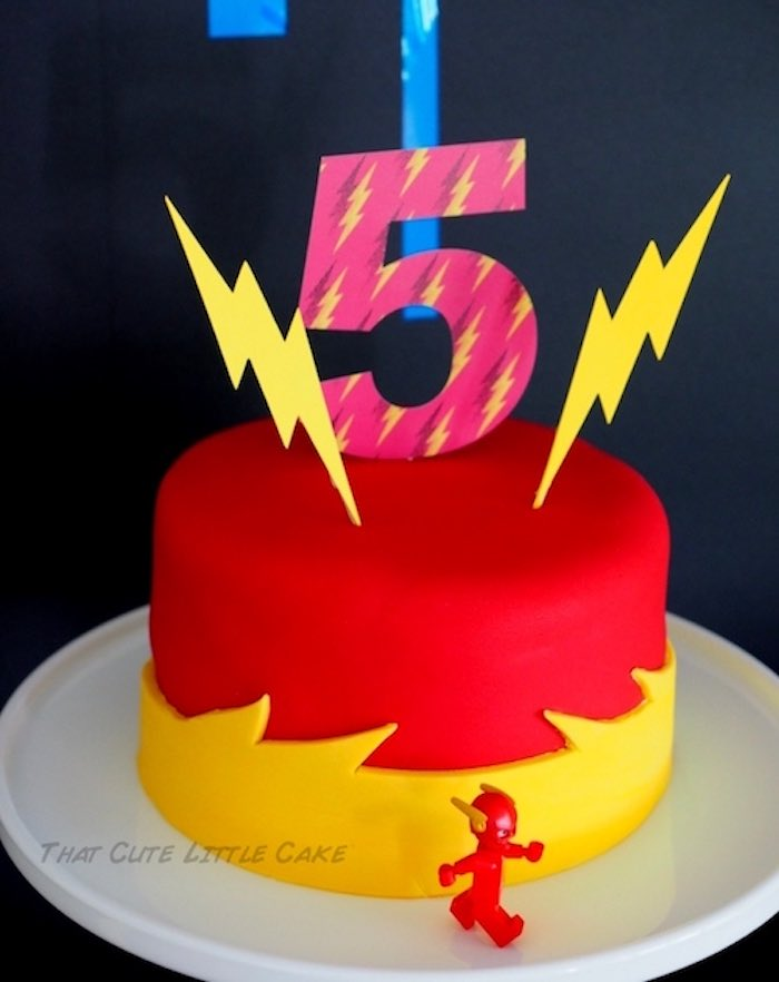 Flash birthday cake from a Superhero Birthday Party via Kara's Party Ideas | KarasPartyIdeas.com - The Place for All Things Party! (15)