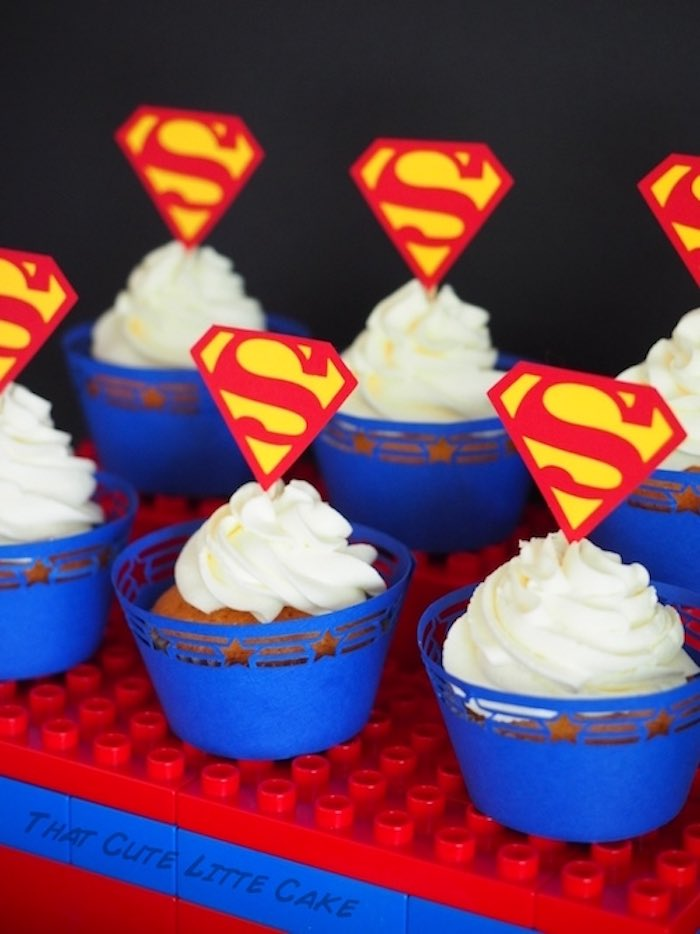 Superman cupcakes from a Superhero Birthday Party via Kara's Party Ideas | KarasPartyIdeas.com - The Place for All Things Party! (14)