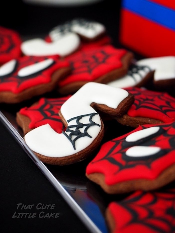 The Amazing Spiderman cookies from a Superhero Birthday Party via Kara's Party Ideas | KarasPartyIdeas.com - The Place for All Things Party! (13)