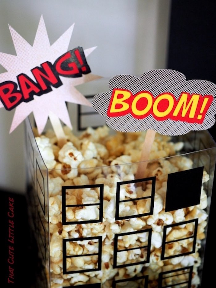 Superhero popcorn from a Superhero Birthday Party via Kara's Party Ideas | KarasPartyIdeas.com - The Place for All Things Party! (12)