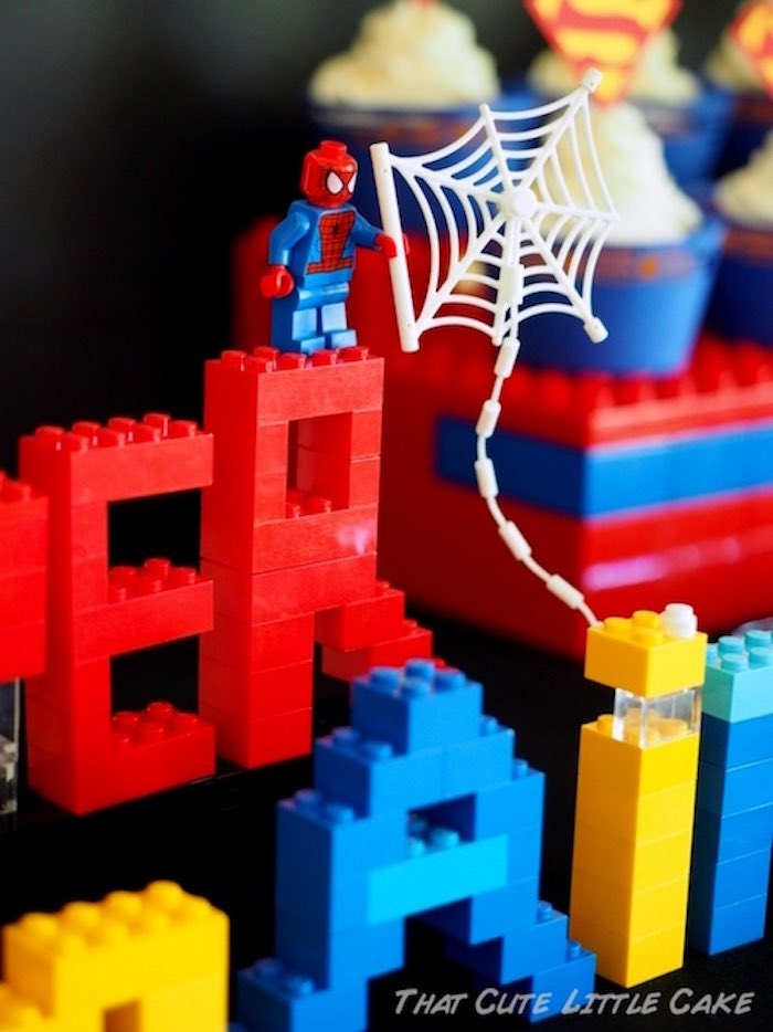 Spiderman Legos from a Superhero Birthday Party via Kara's Party Ideas | KarasPartyIdeas.com - The Place for All Things Party! (11)