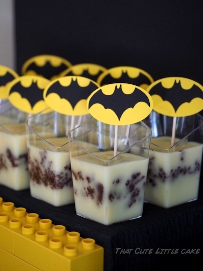 Batman puddings from a Superhero Birthday Party via Kara's Party Ideas | KarasPartyIdeas.com - The Place for All Things Party! (9)