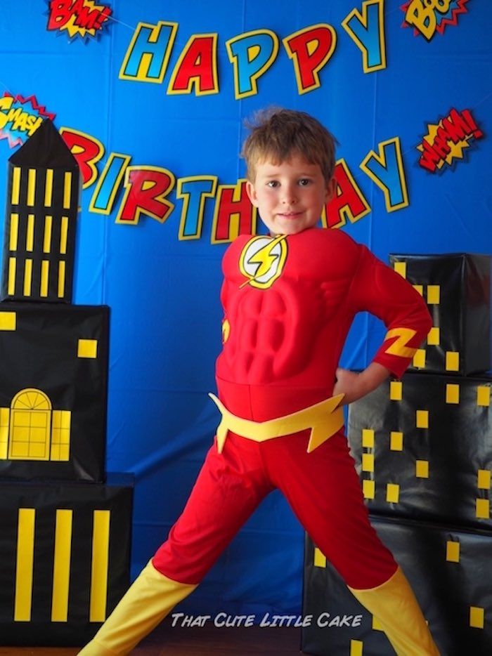 Superhero photo op from a Superhero Birthday Party via Kara's Party Ideas | KarasPartyIdeas.com - The Place for All Things Party! (7)