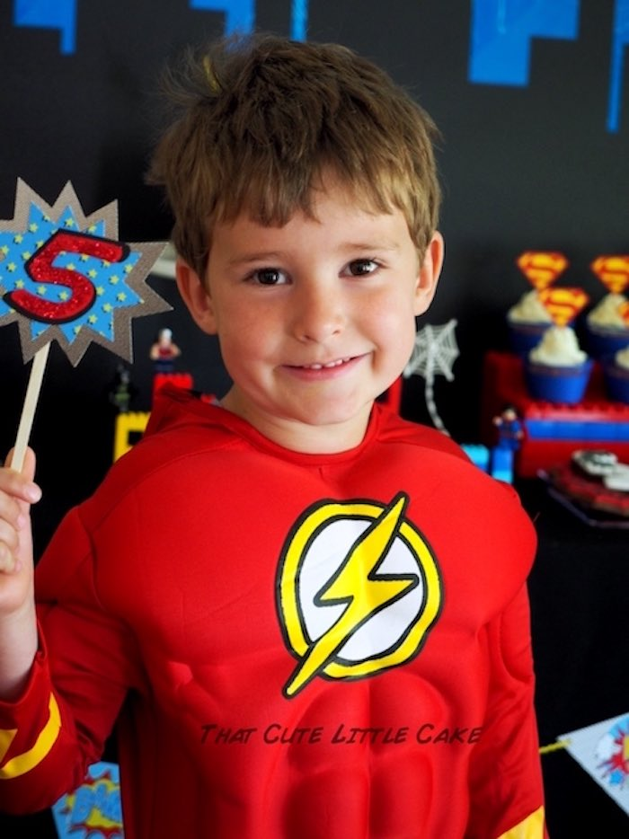 Birthday boy from a Superhero Birthday Party via Kara's Party Ideas | KarasPartyIdeas.com - The Place for All Things Party! (6)