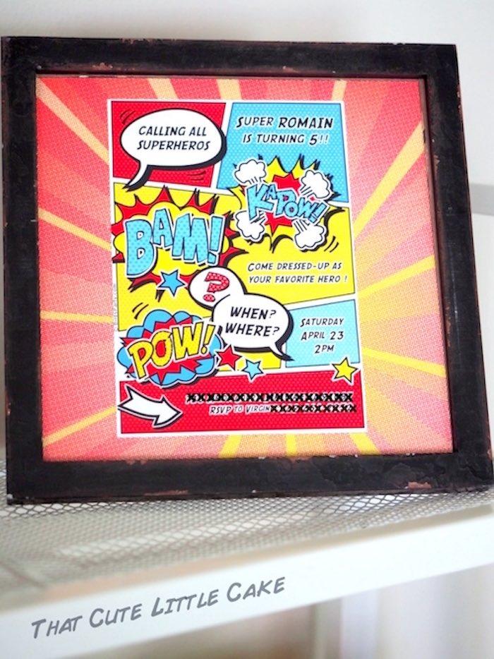 Superhero invitation + printable from a Superhero Birthday Party via Kara's Party Ideas   KarasPartyIdeas.com - The Place for All Things Party! (24)