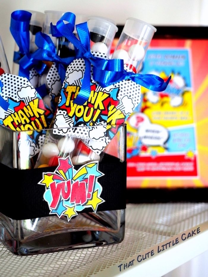 Superhero gumball favor tubes from a Superhero Birthday Party via Kara's Party Ideas | KarasPartyIdeas.com - The Place for All Things Party! (23)