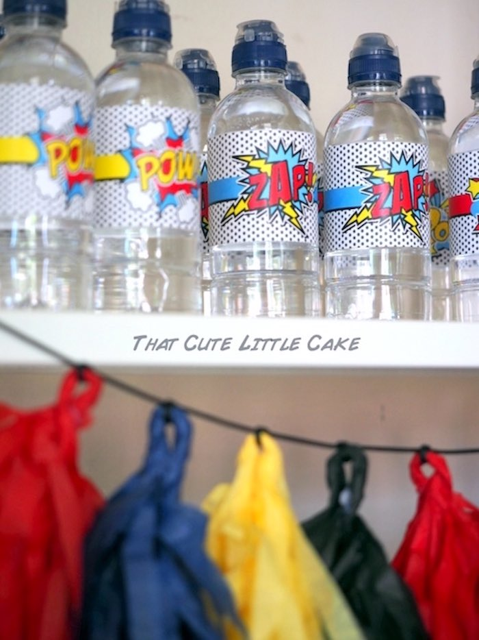 Water bottles from a Superhero Birthday Party via Kara's Party Ideas | KarasPartyIdeas.com - The Place for All Things Party! (22)