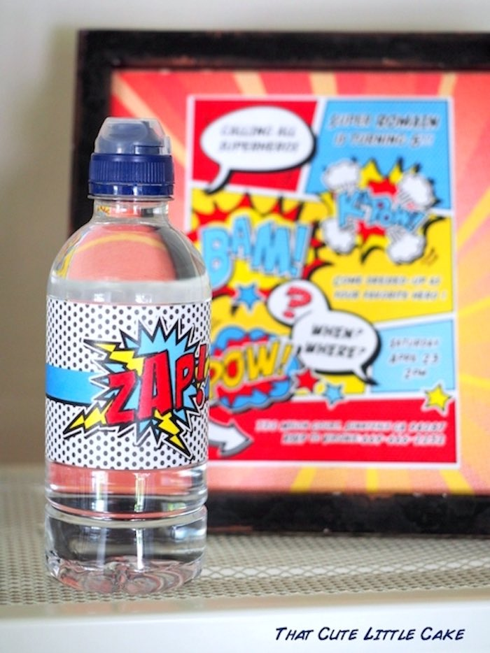 Water bottle from a Superhero Birthday Party via Kara's Party Ideas | KarasPartyIdeas.com - The Place for All Things Party! (21)