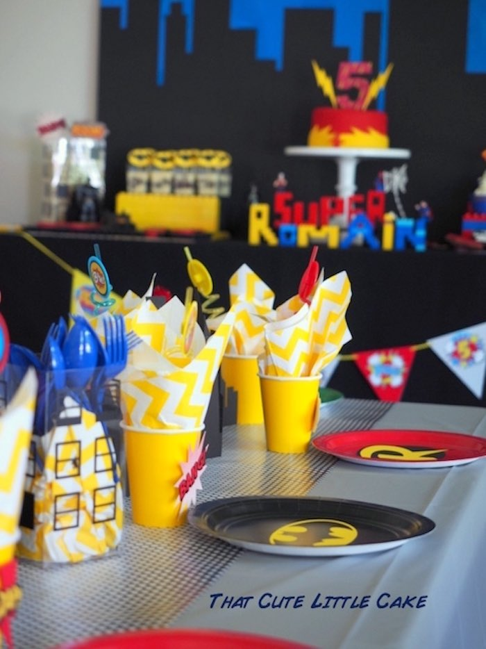 Superhero tablescape from a Superhero Birthday Party via Kara's Party Ideas | KarasPartyIdeas.com - The Place for All Things Party! (20)