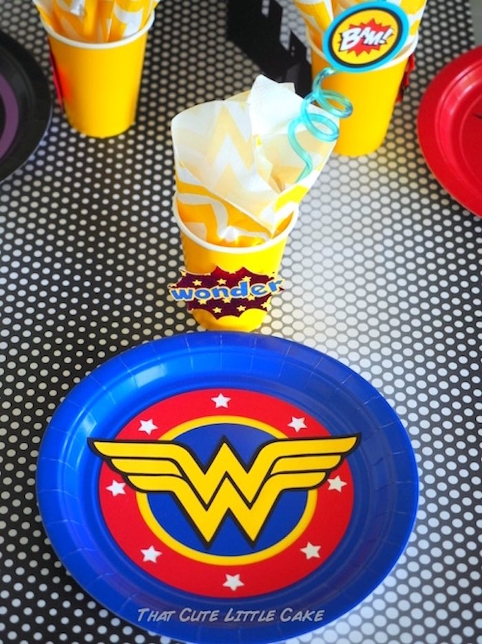 Wonder Woman place setting from a Superhero Birthday Party via Kara's Party Ideas | KarasPartyIdeas.com - The Place for All Things Party! (19)