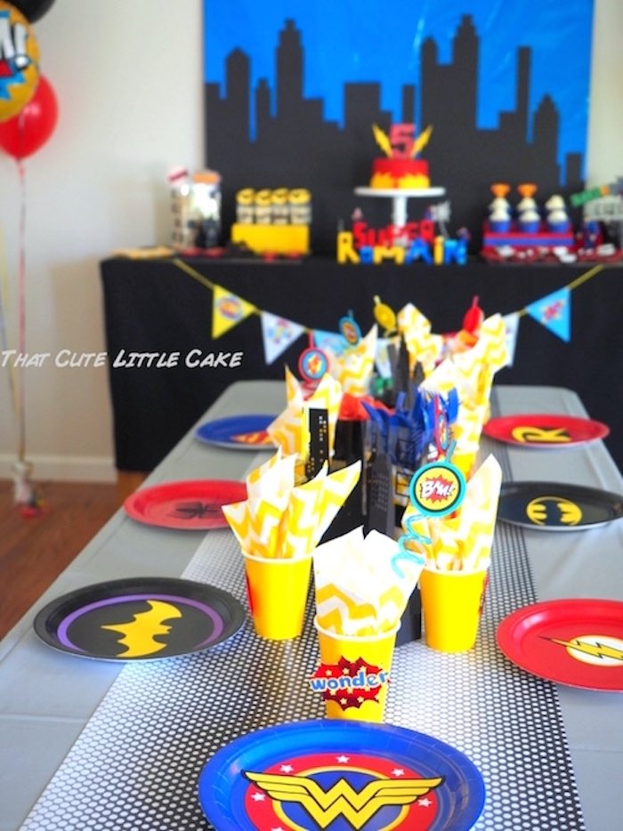 Superhero tablescape from a Superhero Birthday Party via Kara's Party Ideas | KarasPartyIdeas.com - The Place for All Things Party! (18)