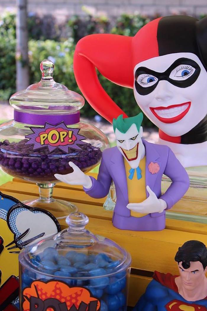The Joker details from a Superheroes & Villains Dessert Buffet via Kara's Party Ideas   KarasPartyIdeas.com (14)