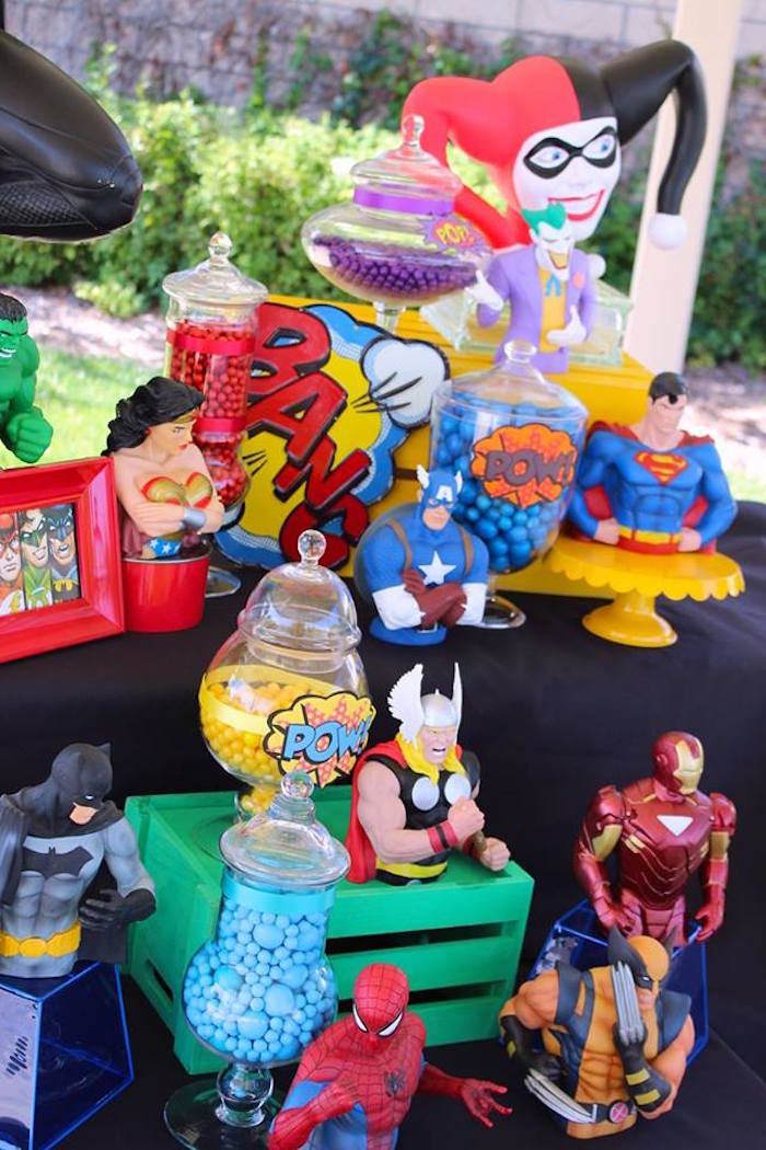 Kara S Party Ideas Superheroes Amp Villains Dessert Buffet