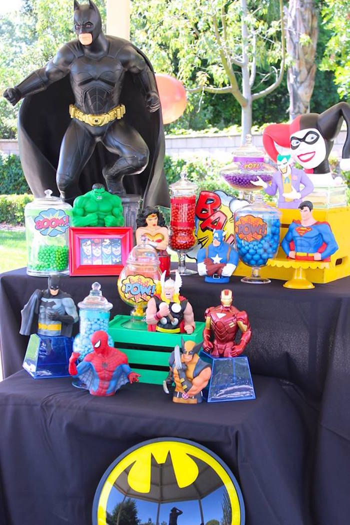 Full setup from a Superheroes & Villains Dessert Buffet via Kara's Party Ideas   KarasPartyIdeas.com (9)