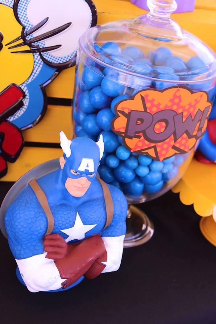 Captain American details from a Superheroes & Villains Dessert Buffet via Kara's Party Ideas   KarasPartyIdeas.com (8)