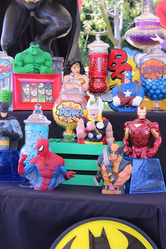 Kara S Party Ideas Superheroes Amp Villains Dessert Buffet
