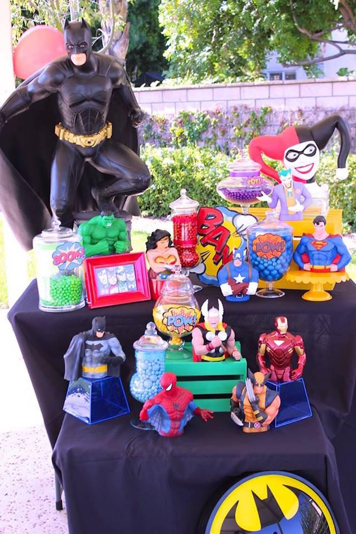 Candy buffet from a Superheroes & Villains Dessert Buffet via Kara's Party Ideas   KarasPartyIdeas.com (5)