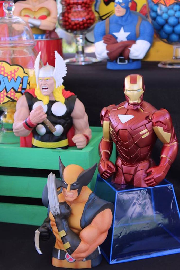 Superhero figurines from a Superheroes & Villains Dessert Buffet via Kara's Party Ideas   KarasPartyIdeas.com (23)