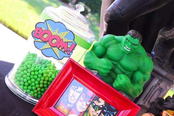 Incredible Hulk details from a Superheroes & Villains Dessert Buffet via Kara's Party Ideas   KarasPartyIdeas.com (22)