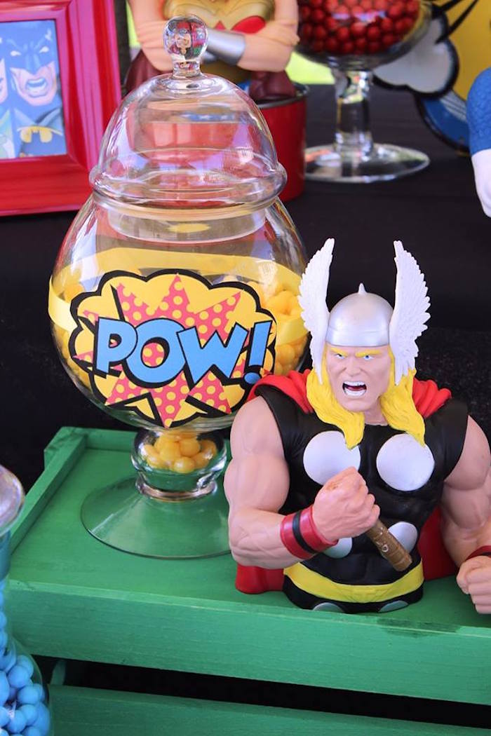 Thor details from a Superheroes & Villains Dessert Buffet via Kara's Party Ideas   KarasPartyIdeas.com (21)