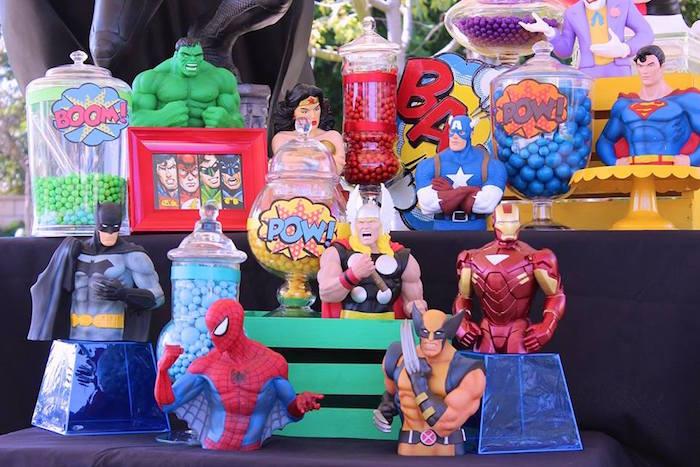 Candy Display from a Superheroes & Villains Dessert Buffet via Kara's Party Ideas   KarasPartyIdeas.com (20)