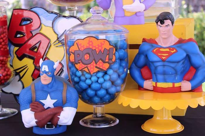 Superhero details from a Superheroes & Villains Dessert Buffet via Kara's Party Ideas   KarasPartyIdeas.com (18)