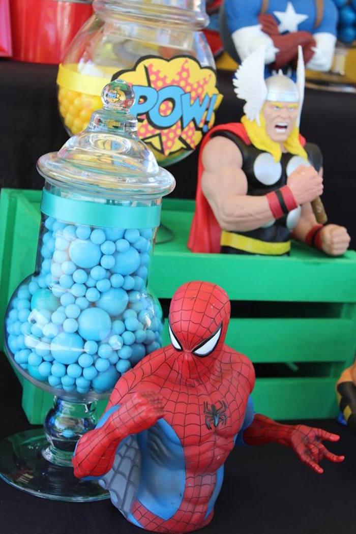 Characters & candy from a Superheroes & Villains Dessert Buffet via Kara's Party Ideas   KarasPartyIdeas.com (16)