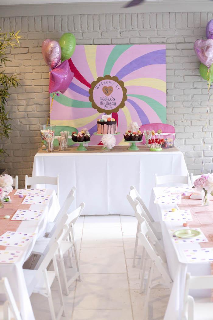 Party setup from a Sweet Macaron Themed Birthday Party via Kara's Party Ideas KarasPartyIdeas.com (14)